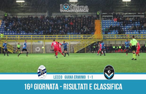 Lecco Giana Erminio 1-1 risultati e classifica 16 giornata serie C girone A