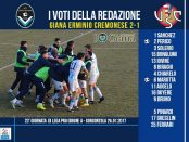 le pagelle 23 giornata Giana Cremonese 2-1
