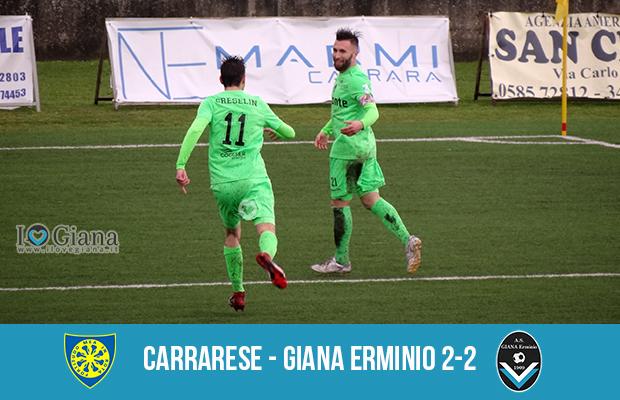 28 giornata serie C girone A Carrarese Giana Erminio 2-2