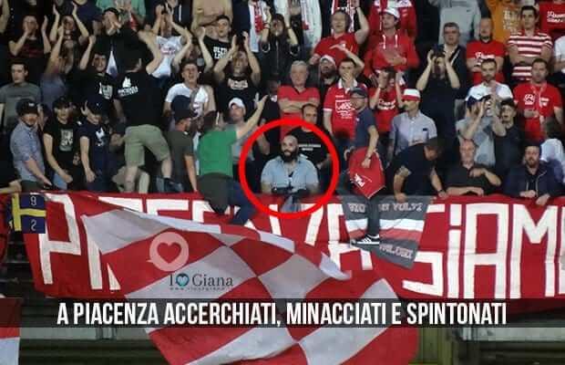 Davide Reboli ultras A Piacenza accerchiati minacciati e spintonati