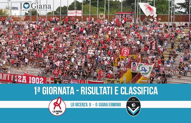 Vicenza Giana Erminio 0-0 risultati e classifica 1 giornata serie C girone B