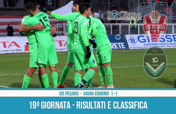 19 Vis Pesaro Giana Erminio 1-1 risultati e classifica 19 giornata serie C girone B