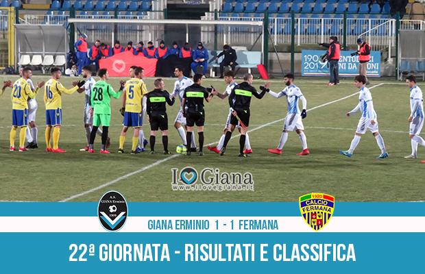Giana Erminio Fermana 1-1 risultati e classifica 22 giornata serie C girone B