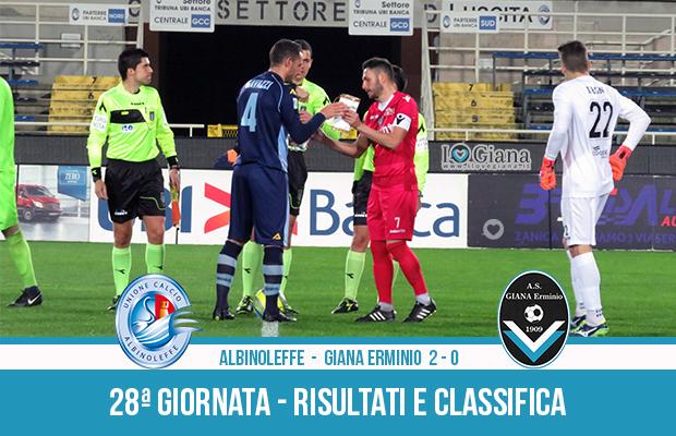 Albinoleffe Giana Erminio 2-0 risultati e classifica 28 giornata serie C girone B