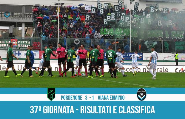 Pordenone Giana Erminio 3-1 risultati e classifica 37 giornata serie C girone B